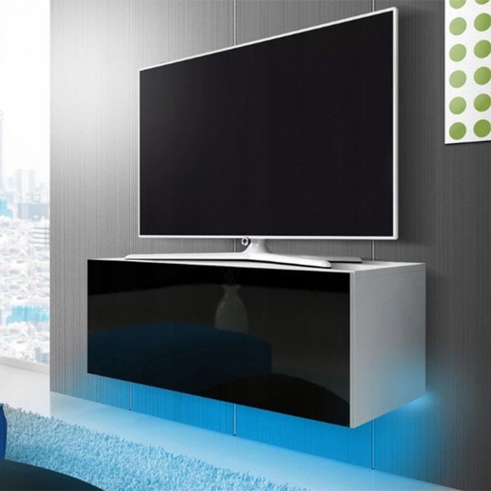 Tv Meubel 100 Cm.Zwevend Tv Meubel 100 Cm Zwart Wit Led Hoogglans Front