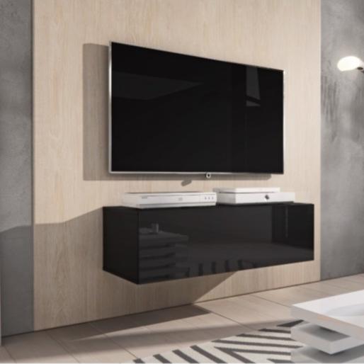Tv Meubel Zwart Mat.Zwevend Tv Meubel Zwart Mat Met Hoogglans 100 Cm Redealer