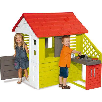 smoby speelhuisje rood met groen redealer